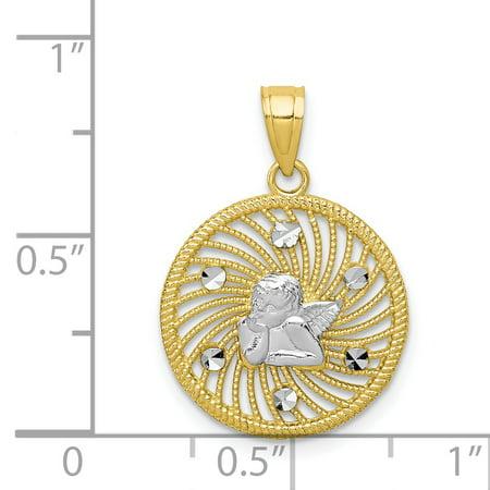 10K Rhodium Plated Yellow Gold & Rhodium Angel Charm - image 1 de 2