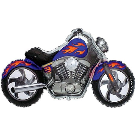 MOTORCYCLE Harley Davidson Hog Bike BLUE and Orange-Yellow Flame 45