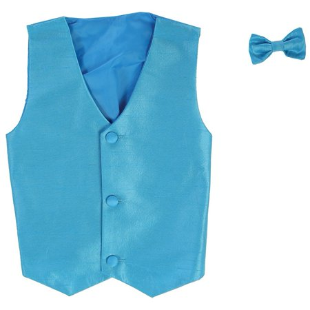 Little Boys Aqua Poly Silk Vest Bowtie Special Occasion Set 2T-7](Silk Spectre Outfit)