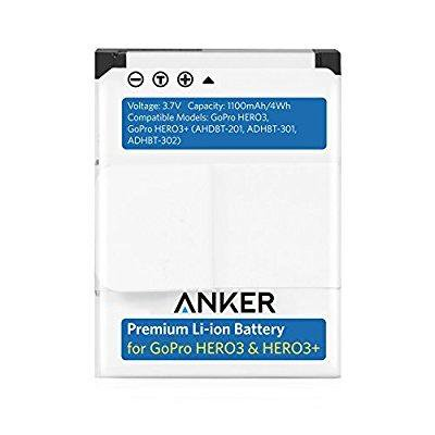 anker replacement battery for gopro hero3 ahdbt-201, ahdbt-301, ahdbt-302, gopro hd hero 3 and gopro hd hero 3+ ()