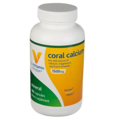 The Vitamin Shoppe Coral Calcium 1,500MG  Eco Safe Source of Calcium, Magnesium  Trace Minerals to Support Healthy Bones and Teeth (180