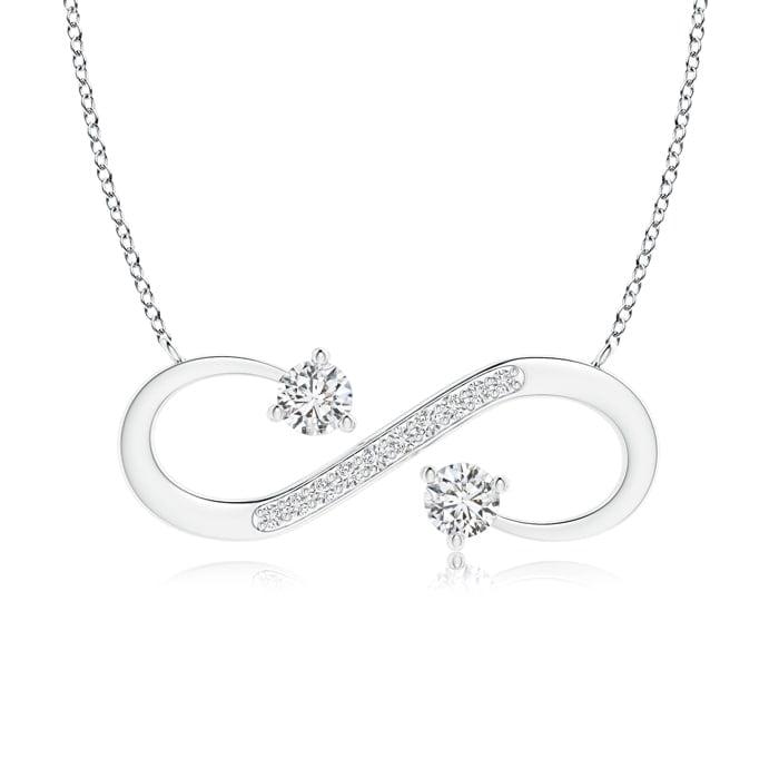 April Birthstone Pendant Necklaces Sideways Infinity Two Stone Diamond Necklace in Platinum (3.8mm Diamond)... by Angara.com