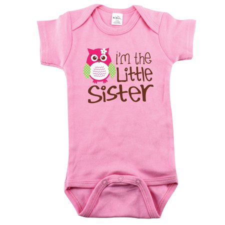 Nursery Decals and More Brand: Baby Girl Bodysuits for Little Sisters, 0-3 Month, I'm the Little Sister with Owl
