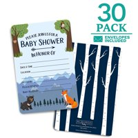 Baby Shower Invitations Woodland - 30 Cards + envelopes for Baby Boy. Match Baby Shower Games, Decorations & Favors. Perfect invites for Showers, Sprinkles or Gender Reveal Party.
