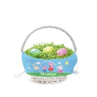 Peppa Pig Personalized Easter Basket with Custom Name Printed on Blue Liner, Peppa and Friends