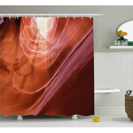 Usa Decor Shower Curtain, Nature Theme Inside of the Antelope Canyon in Arizona Digital Image, Fabric Bathroom Set with Hooks, 69W X 84L Inches Extra Long, Orange Red and Yellow, by Ambesonne