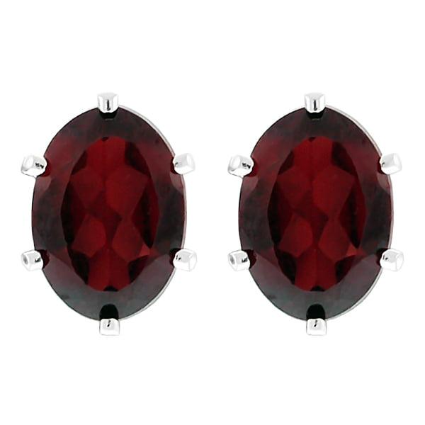 1.60 Ct Red Garnet Sterling Silver 7X5mm Earrings