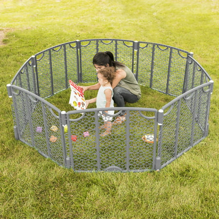 Evenflo Versatile Playspace Indoor/Outdoor Gate, Cool Gray