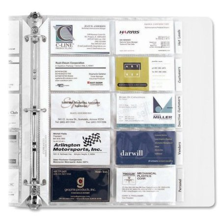 Tabbed Business Card Binder Pages, 20 Cards Per Letter Page, Clear, 5 (Business Card Binder)