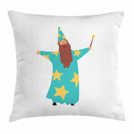 Wizard Throw Pillow Cushion Cover, Cheerful Man with Long Beard in Blue Costume with Stars Cone Hat and Magic Wand, Decorative Square Accent Pillow Case, 16 X 16 Inches, Multicolor, by Ambesonne (Magic Hat And Wand)