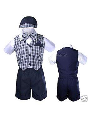 67ba446c79f Product Image Infant Boy Toddler Formal Shorts Suits Navy Blue Checks Vest  Set Gingham Sz S-4T