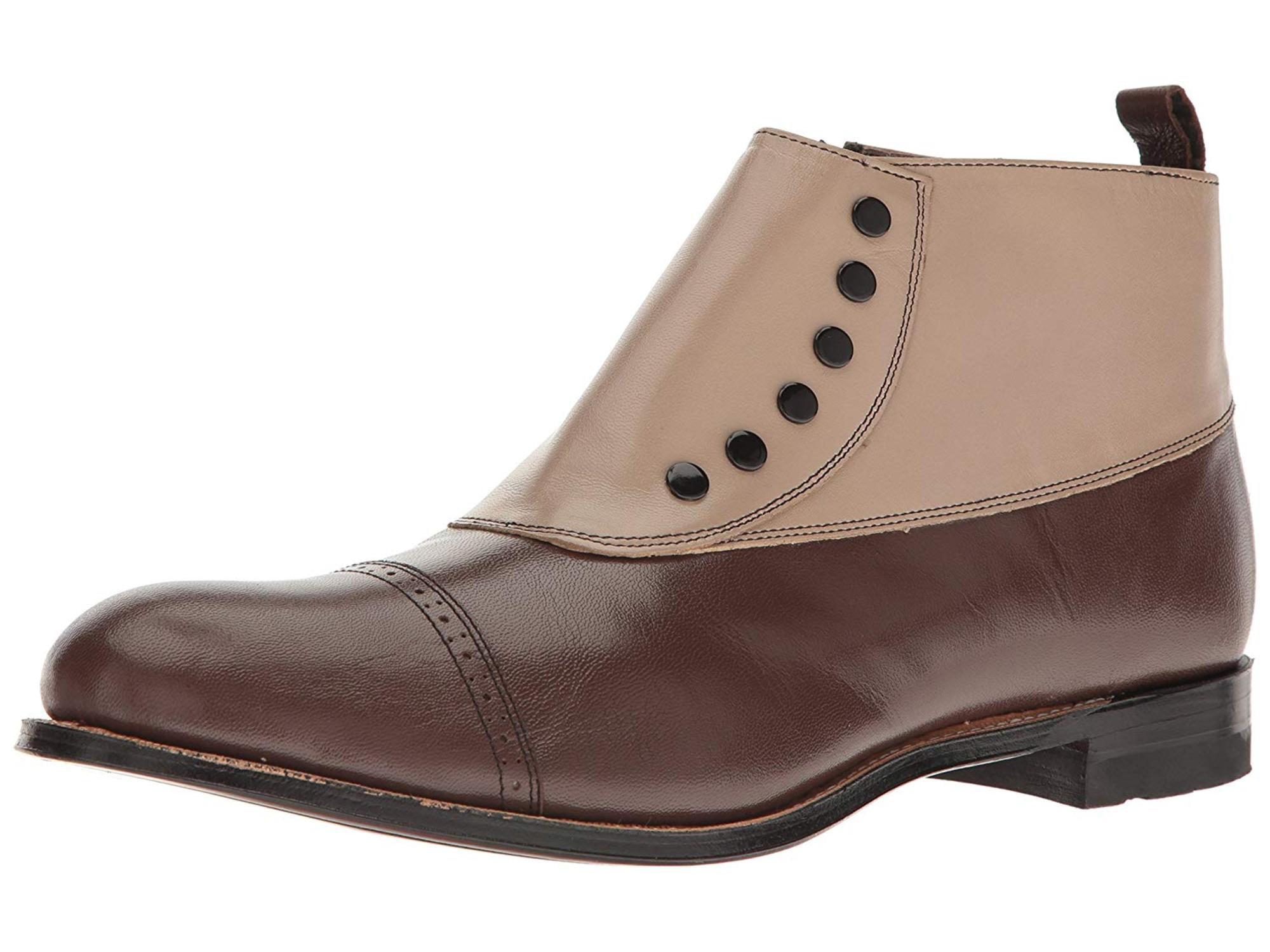 d4d513090b0 Stacy Adams Men's Madison Cap-Toe Spat Boot, Brown, Size 7.5