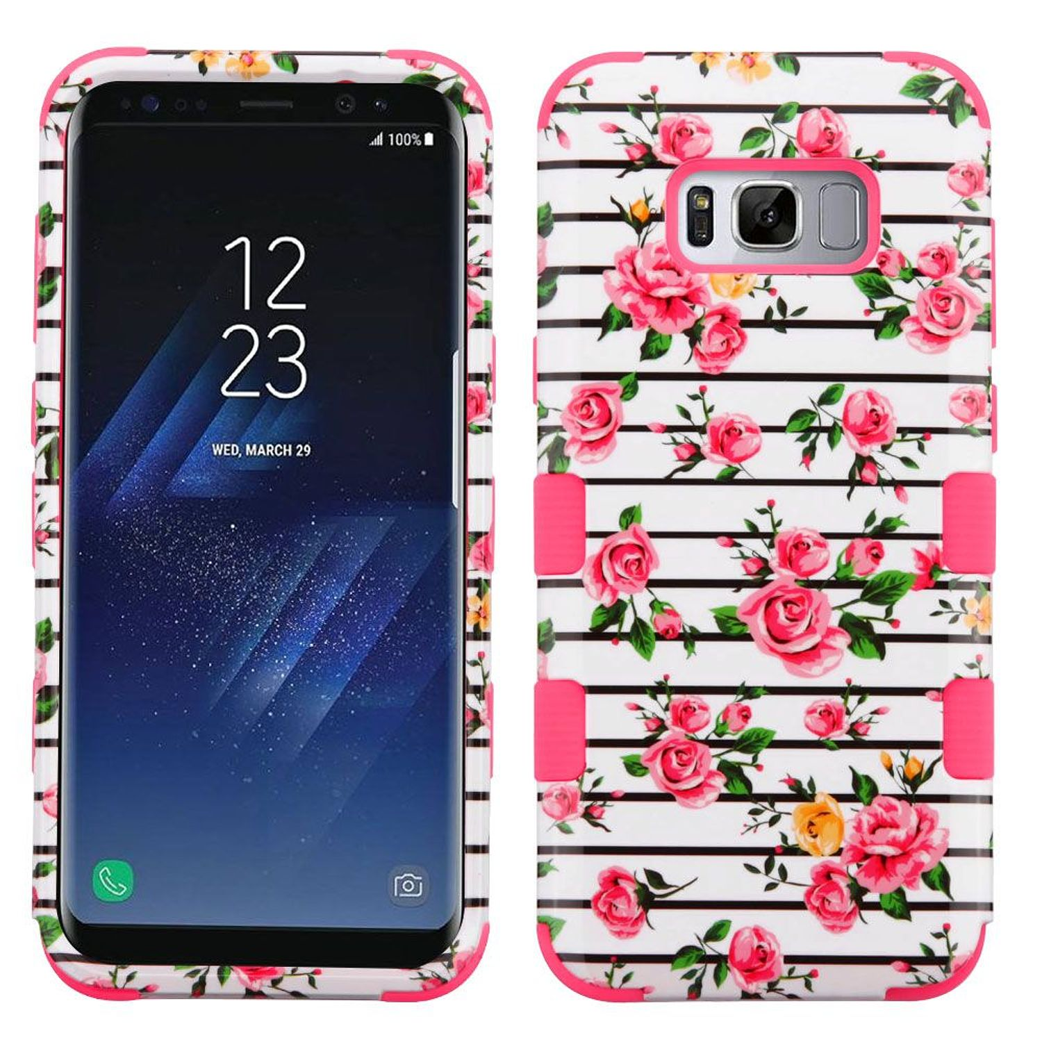 Samsung Galaxy S8+ Case, Samsung Galaxy S8 Plus Case, by Insten Pink Fresh Roses/Electric Pink TUFF Hybrid Shock Absorbing Hard Plastic/Silicone Cover Phone Case For Samsung Galaxy S8+ S8 Plus