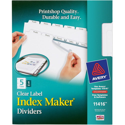 Avery Index Maker Clear Label Dividers, 5-Tab, White