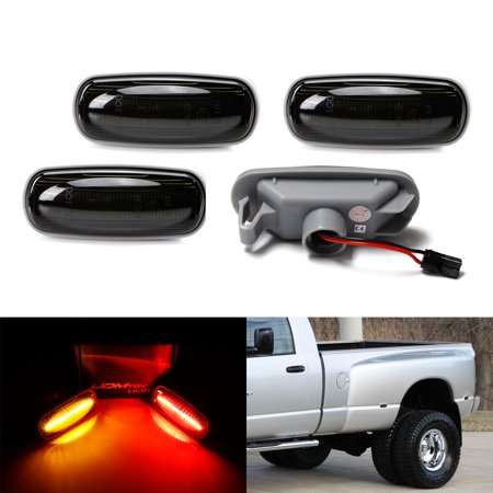 iJDMTOY (4) Smoked Lens Front & Rear Full LED Fender Side Marker Lights w/ 48-SMD LED Diodes For 2003-2009 Dodge RAM 2500 3500 HD Double