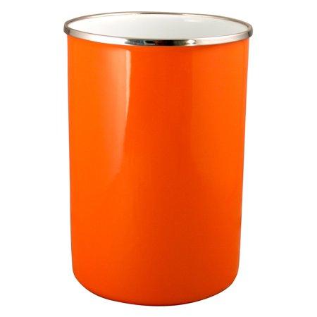 Calypso Basics, Enamel on Steel Utensil Jar, Orange - Burlap Utensil Holder