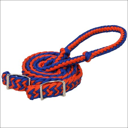 BLUE WEAVER 8 FT BRAIDED NYLON BARREL HORSE TACK REINS CONWAY BUCKLE BIT ENDS Buckle End Split Reins