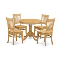 East West Furniture ANVA5-OAK-W Kitchen Table & 4 Dining Room Chair, Oak