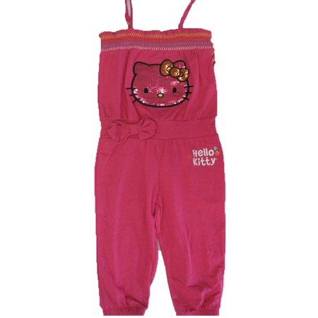 Little Girls Fuchsia Elasticated Neck Strappy Pants Romper 4-6X