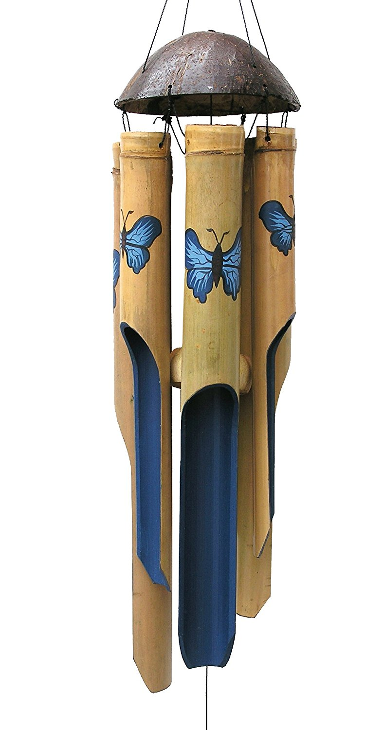 Blue Butterfly Medium Wind Chime, Each design is its own unique work of art By Cohasset by