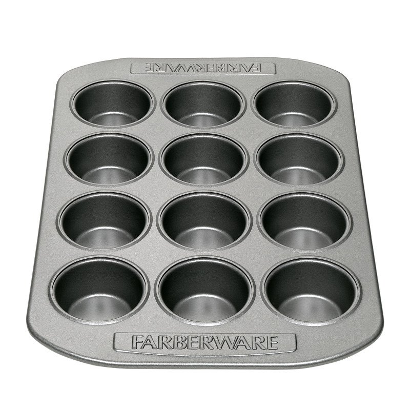 Farberware Nonstick Bakeware 12-Cup Mini Muffin and Cupcake Pan, Gray
