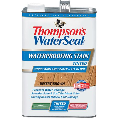 Thompson's WaterSeal Waterproofer Plus Tinted Wood Stain, Desert Brown, 1-Gal (Penofin Wood Finish)