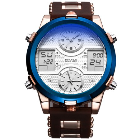 Mens Quartz Watch Coffee Silicone Strap 6 Hands Date Analog Display Fashion Mens Choice Best for Gift