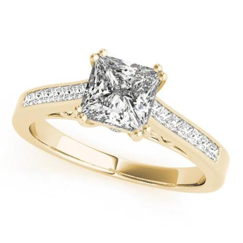 Allurez 14k Gold Double Prong Princess-Cut Diamond Engagement Ring 1.25ct