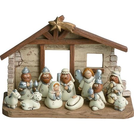 The Holiday Aisle 12 Piece Resin Kids Nativity with Cr che Set - Child Nativity Set
