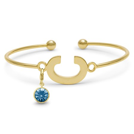 Initial Bangle Bracelet With Aquamarine Crystal Birthstone, For March