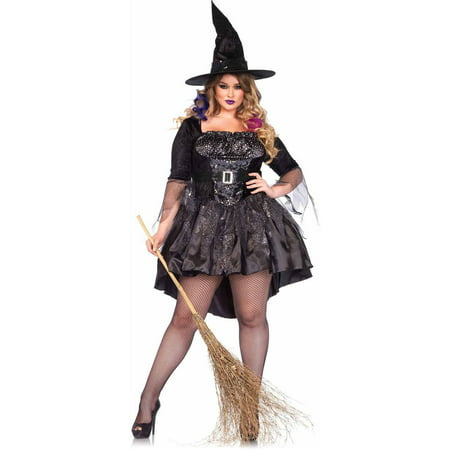 Leg Avenue Plus Size 2-Piece Black Magic Mistress Adult Halloween Costume (Aladdin Magic Carpet Ride Halloween)