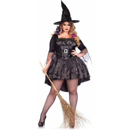 Leg Avenue Plus Size 2-Piece Black Magic Mistress Adult Halloween Costume