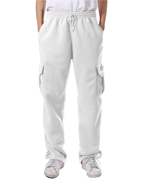 Mens Cargo Sweatpants Heavyweight Fleece Long Pants Multi Pockets