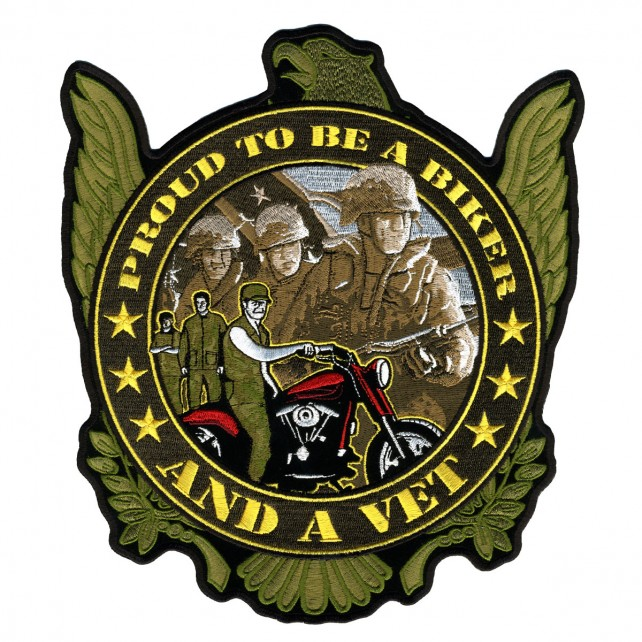 "Proud Biker And Vet, ""soldiers & Motorcycle"", Iron-on / Saw-on Rayon PATCH - 9"" X 10"""