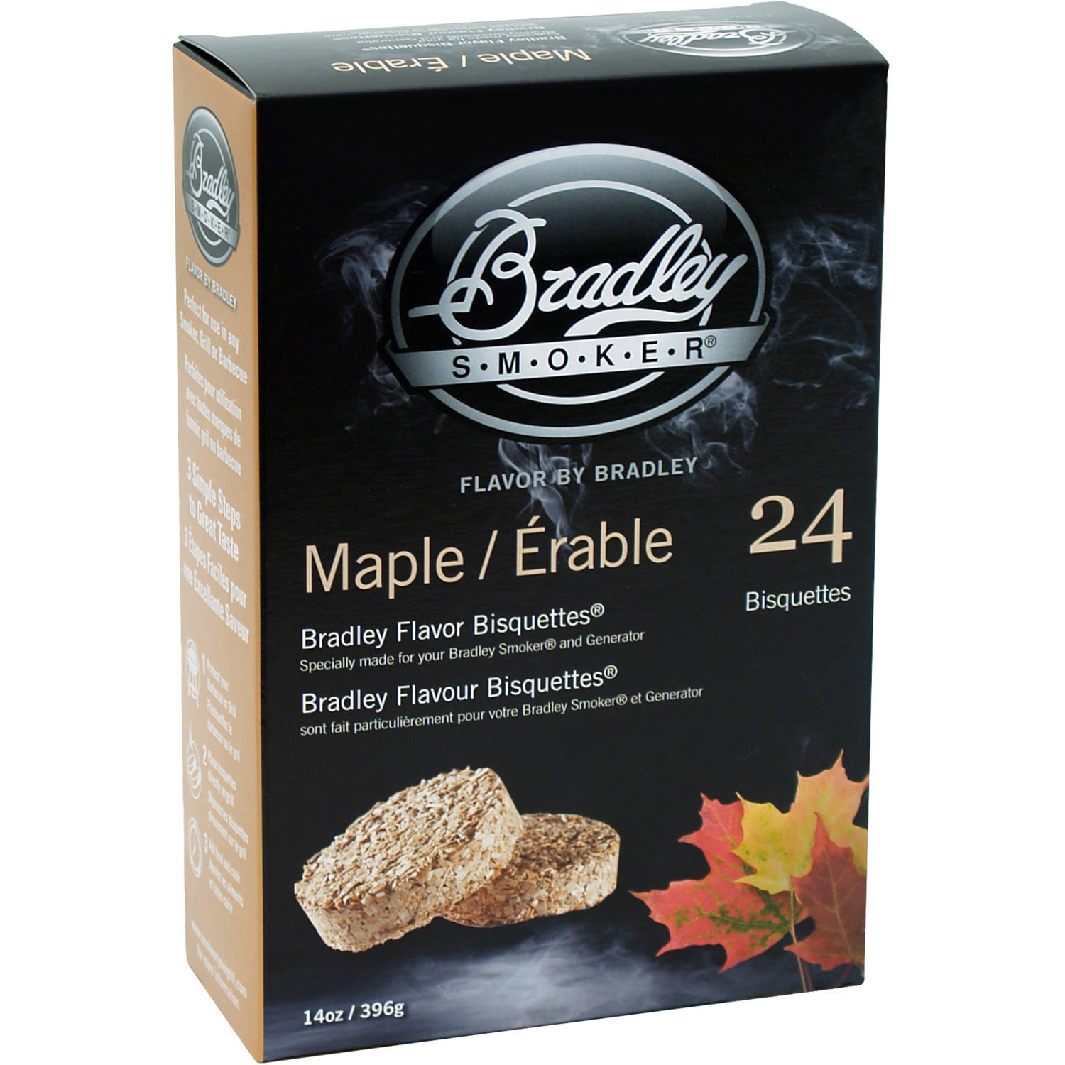 Bradley Flavor Bisquettes, Maple, 24-Pack