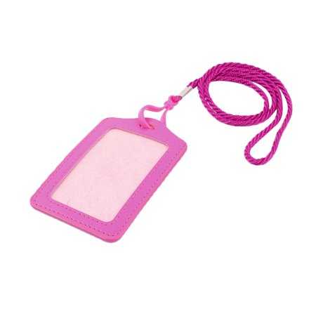 Unique Bargains Nylon Vertical ID Card Holder Lanyard School Office Bank Students Stationery Fuchsia Clear w Neck Strap