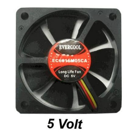 Evercool 60mm Case Fan - 3 Pin, 3 Wire, 4000rpm, 1 Ball Bearing, 14.28cfm, 0.08amp, 29dba - FAN-EC6015M05CA
