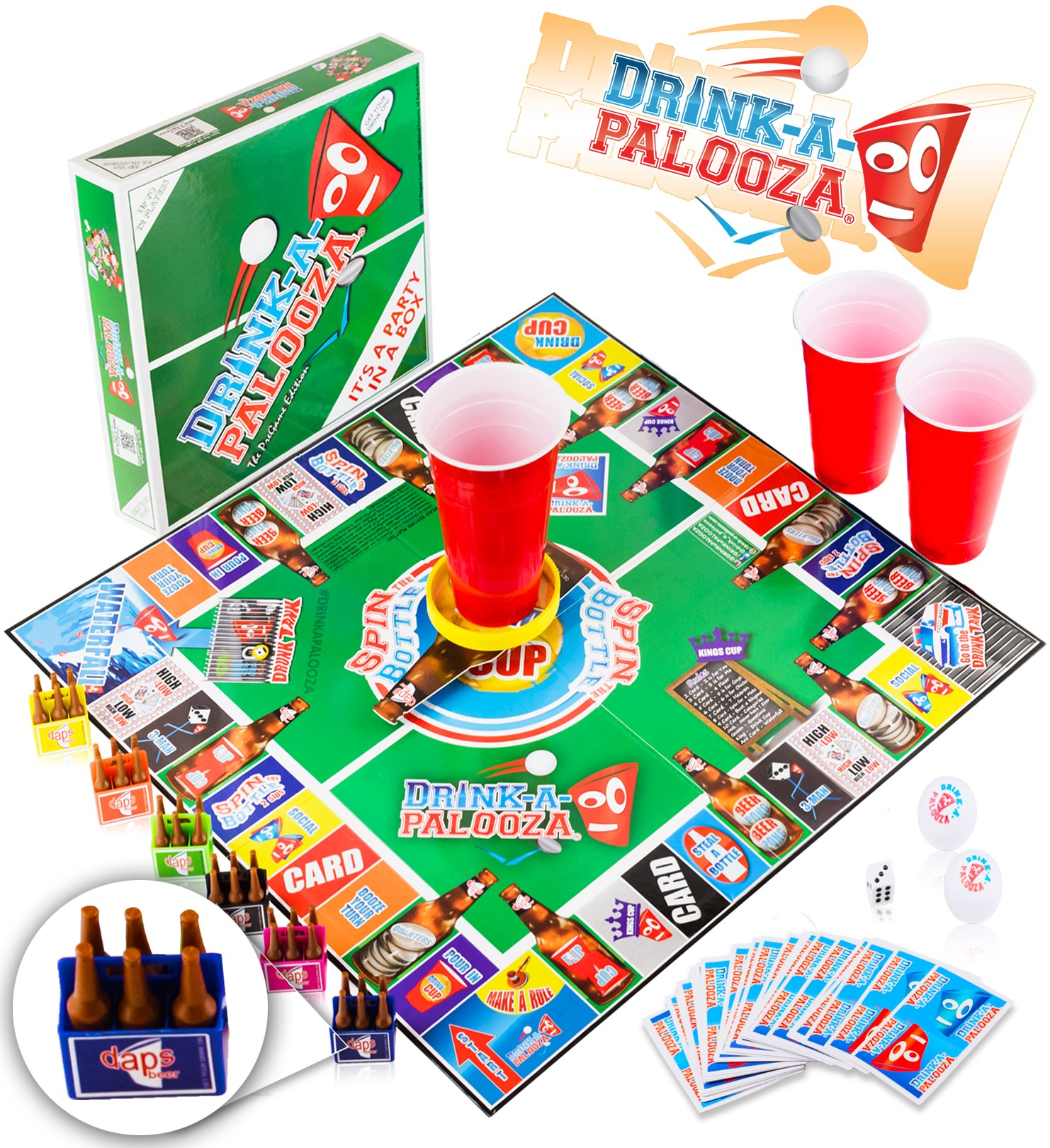 "Drink-a-palooza party board game: combines ""old-school"" + ""new-school"" adult drinking games featuring beer pong, flip cup, kings cup card games & all the best party games for adults"