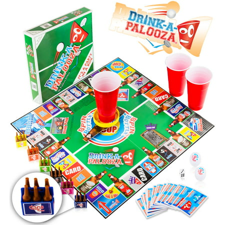 DRINK-A-PALOOZA Board Game: Fun Drinking Games for Adults & Game Night Party Games | Adult Games Combo of Beer Pong + Flip Cup + Kings Cup Card Games + More! - Easy Party Games For Halloween