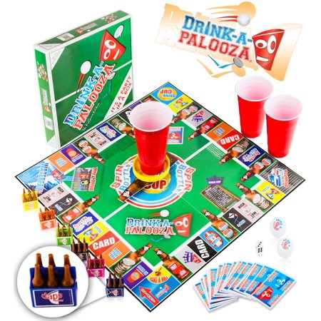DRINK-A-PALOOZA Board Game: Fun Drinking Games for Adults & Game Night Party Games | Adult Games Combo of Beer Pong + Flip Cup + Kings Cup Card Games +
