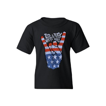 RWB Peace, USA Flag Rock and Roll Youth T-shirt 4th of July USA Tee Black YOUTH