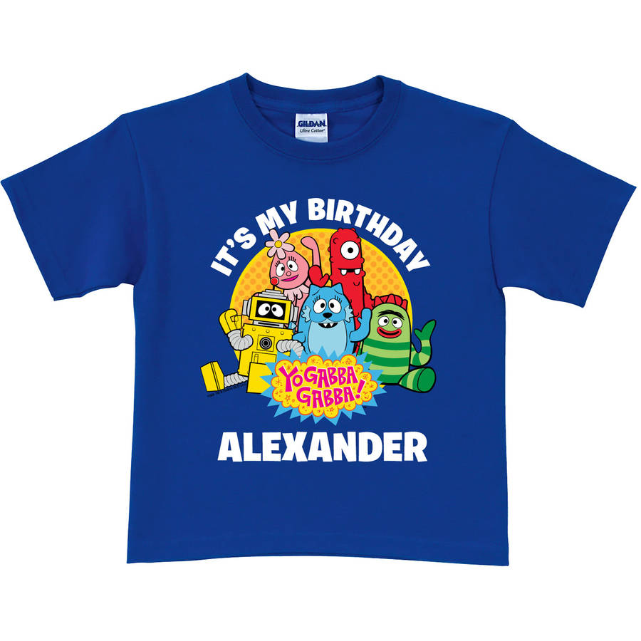 Personalized Yo Gabba Gabba It's My Birthday Toddler T-Shirt, Blue