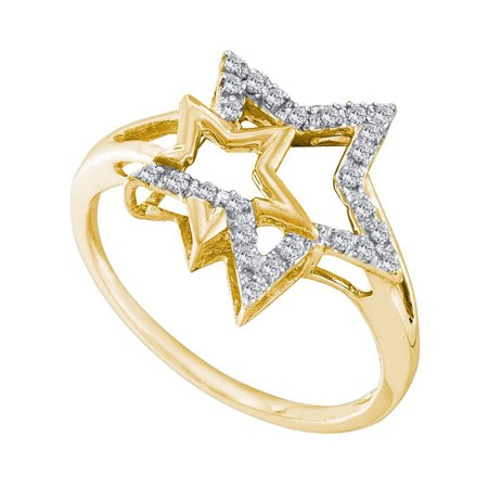 10kt Yellow Gold Womens Round Diamond Double Star Outline Ring 1/10 Cttw - image 1 of 1