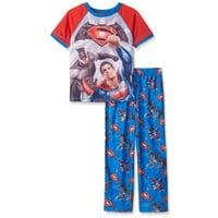 Justice League Boys' Pajamas Batman Vs Superman Lounge Pants and Long Sleeve Top Set, Blue, Size: 4/5