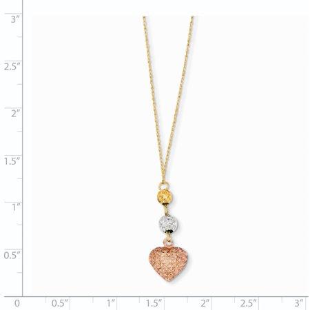 14K Tri Color Gold Tri-color Ropa Diamond Cut Beads & Heart w/ 2in Ext Necklace 16 Inch - image 1 de 2