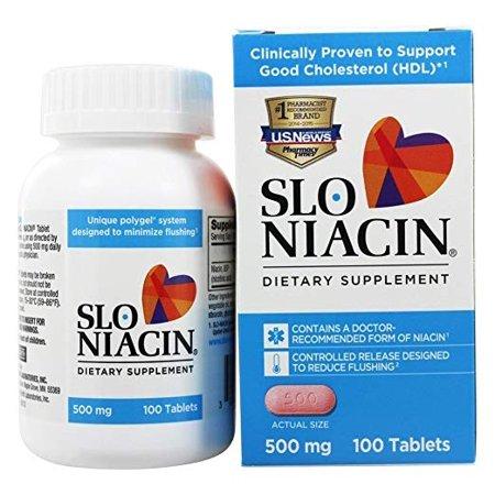 2 Pack Slo Niacin 500mg, 100 Tablets
