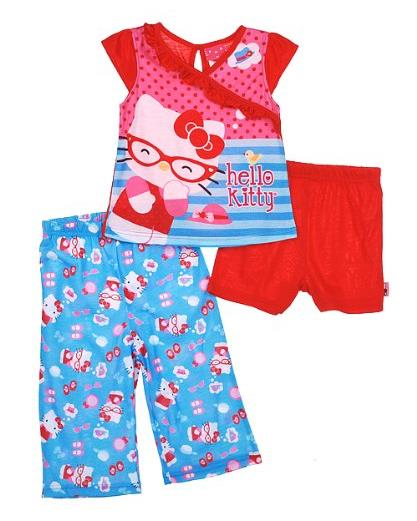 Hello Kitty Little Girls' 3 Piece Set Pajama