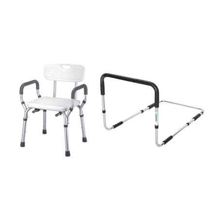 Essential Medical Supply Safety Combo Pack - Endurance Adjustable Bed Rail and Shower Chair with Arms and Back