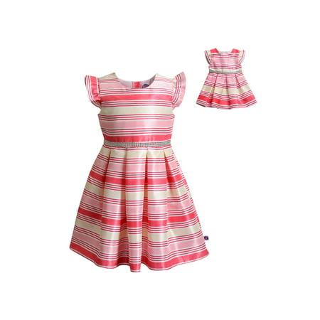 Short Sleeve Shantung Dress With Matching Doll Outfit (Little Girls & Big Girls)