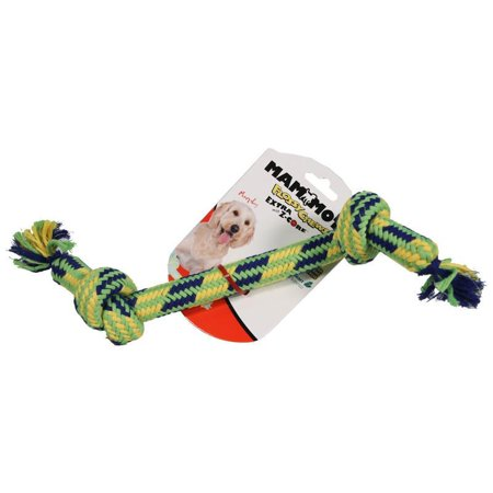 Mammoth Leather Bones - Mammoth Pet Products-Extra 2 Knot Bone With Z-core Dog Toy- Multi 12 Inch/medium